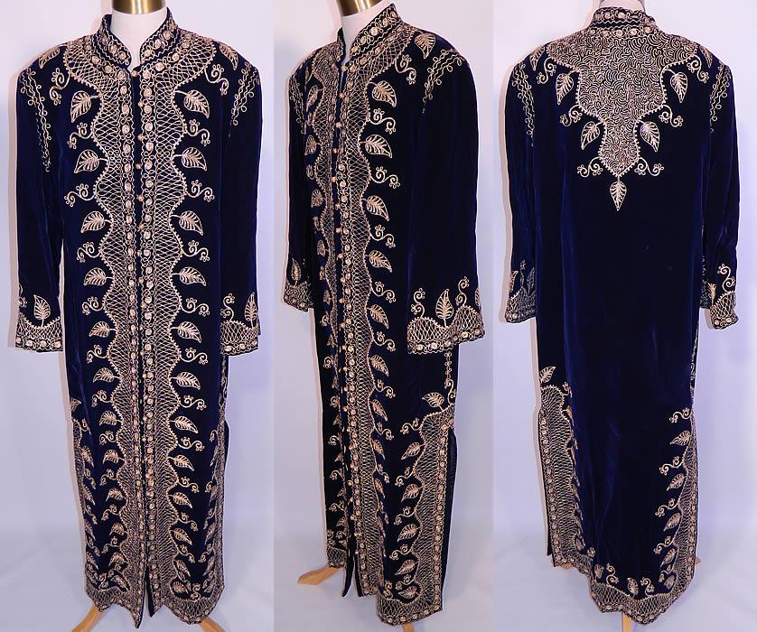 Vintage Adonis Lebanon Blue Velvet Gold Embroidered Boho Kaftan Robe Coat