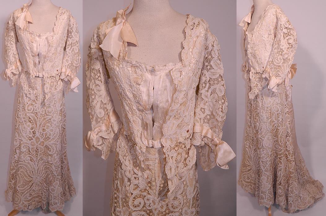 Edwardian Antique Battenburg Crochet Tape Lace Wedding
