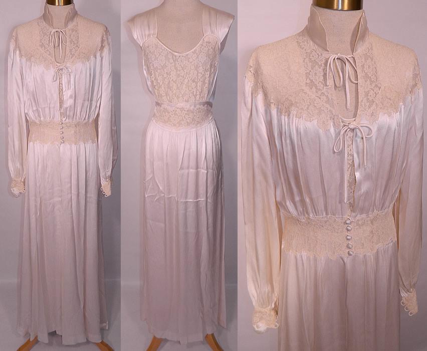 11ce07e55 Vintage White Satin Lace Negligee Nightgown & Robe Peignoir Trousseau Set.  This vintage white satin