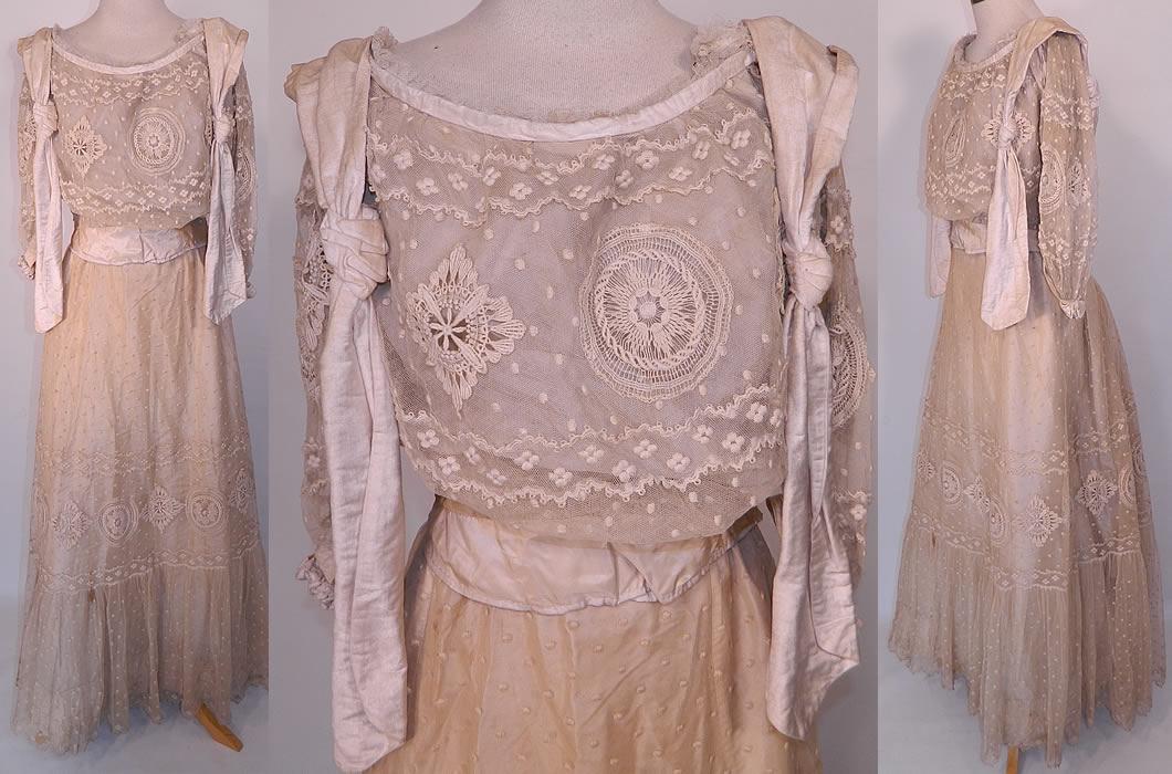 Simple Cream Wedding Dresses Image 0 Colored: Edwardian Embroidered Polka Dot Cream Net Lace Wedding
