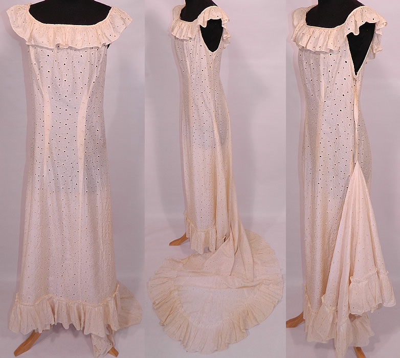417d9a397 Vintage Eyelet Cream Silk Hawaiian Muumuu Wedding Gown Dress Train Skirt