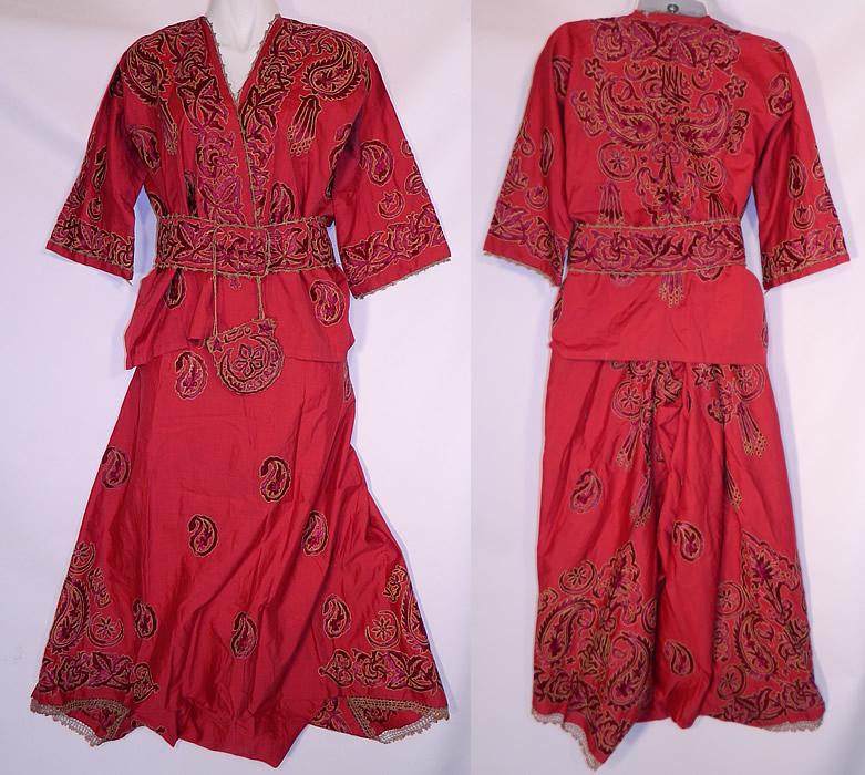 Ottoman Turkish Tugra Red Silk Gold Embroidered Jacket Harem Pant