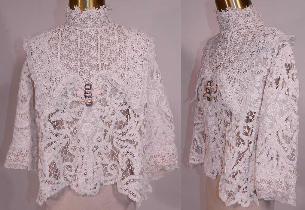 Edwardian white battenburg tape lace embroidered applique blouse