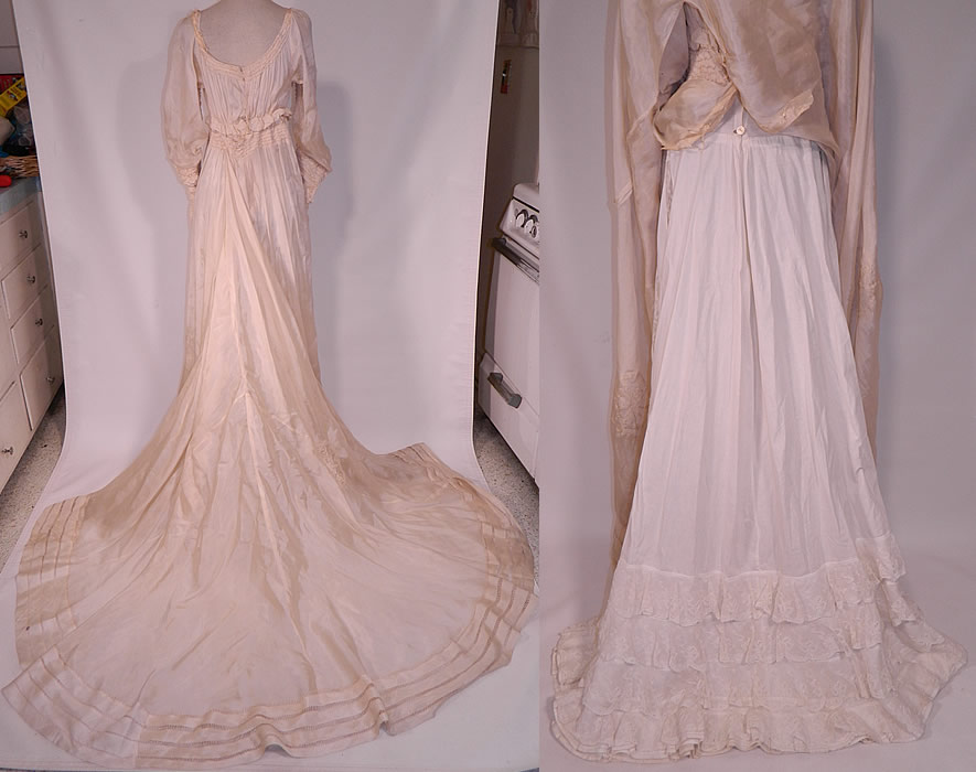 Edwardian Cream Silk Ruched Pearl Beaded Lace Trim Wedding