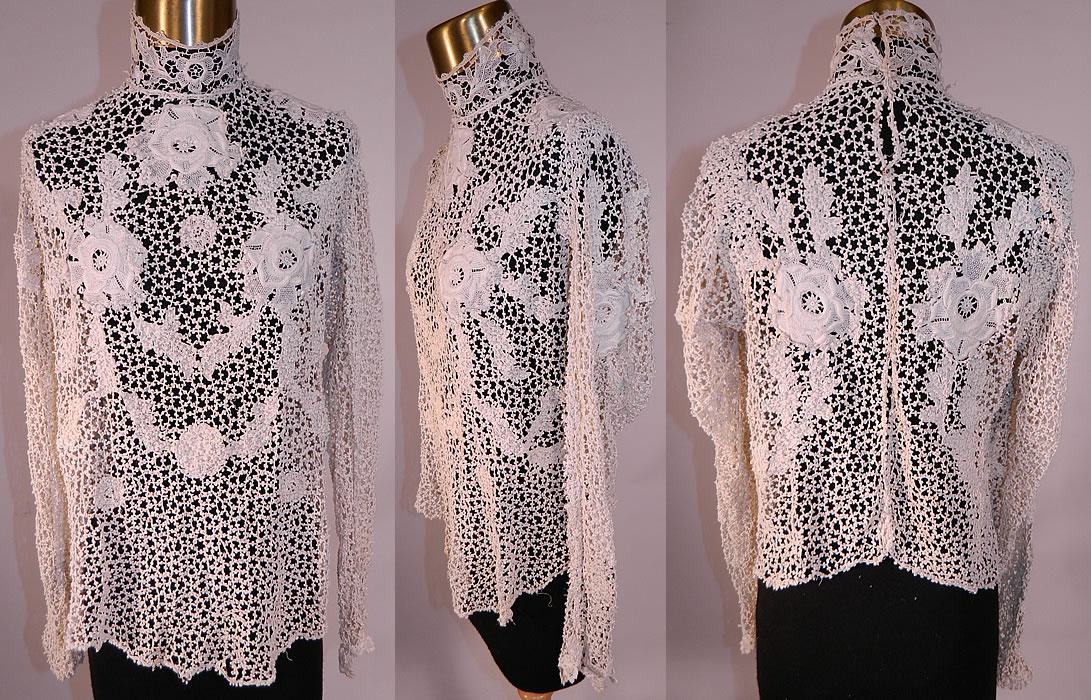 Edwardian white point de venise needle lace applique blouse shirt top