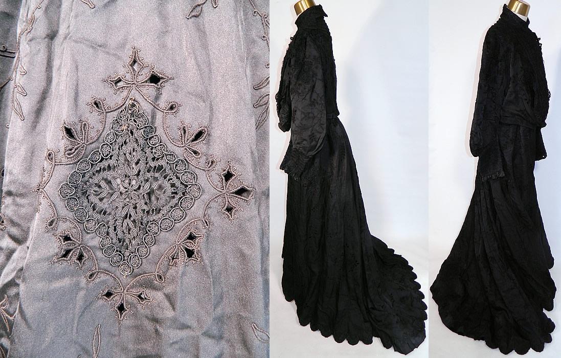 Victorian Black Silk Taffeta Bobbin Lace Mourning Gown Bodice Train