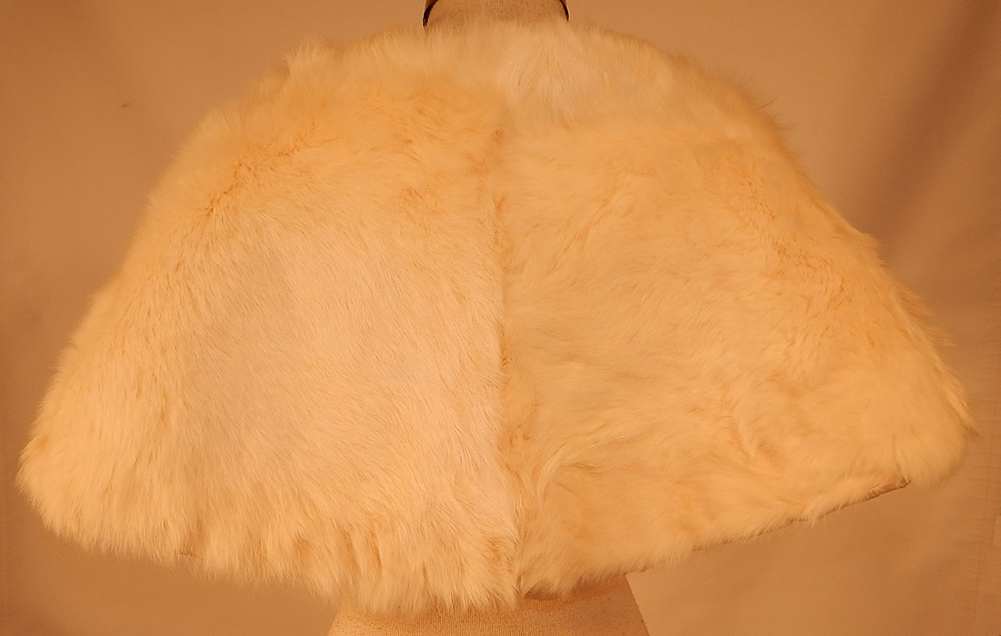 d47ef8dde Vintage White Rabbit Fur Shrug Stole Shawl Winter Wrap Glam Evening Cape  The cape measures 13