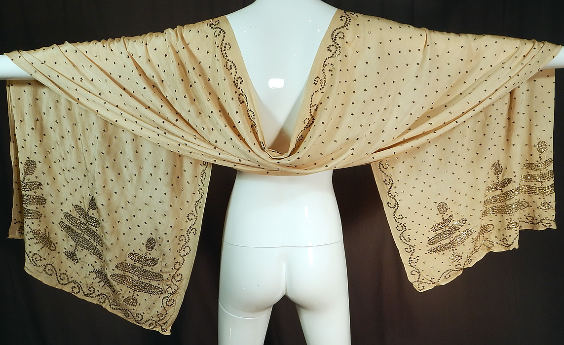 Exceptionnel Vintage Art Deco Turkish Tel Kirma Assuit Cream Silk Silver Stud Shawl  Scarf This Amazing