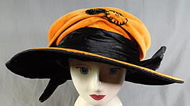 fafd0aabb9b98 Vintage Harris Hat   Cloak Shop Orange Black Velvet Winged Wide Brim Cloche