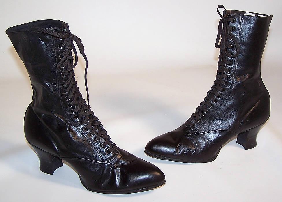 Vintage Victorian Black Leather High