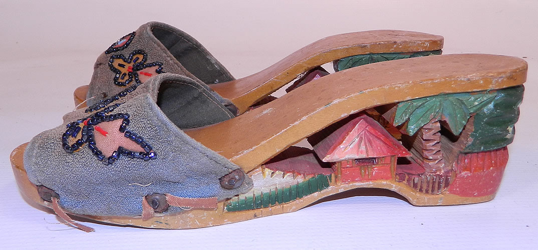 Vintage Philippines Hand Painted Carved