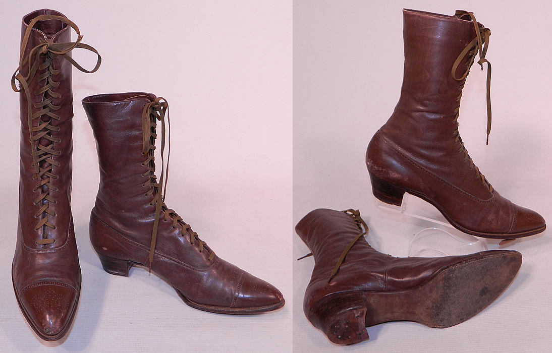 e66b426ed9d82 Victorian Antique Womens Brown Leather High Top Lace-up Boots Shoes