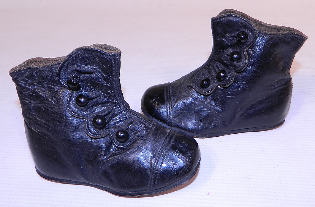 Victorian Antique Black Leather High