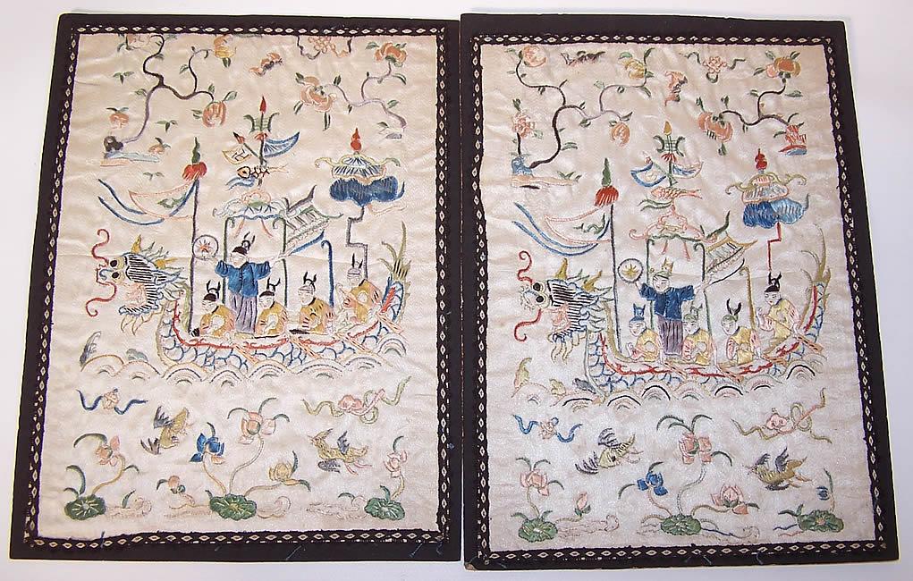 Figural Dragon Boat Silk Embroidered