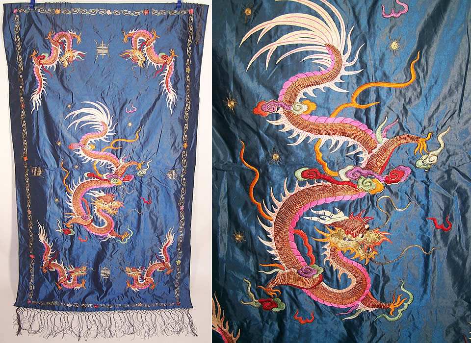 Antique Chinese Dragon Xi Gold Couching Embroidery Silk Tapestry Wall Hanging